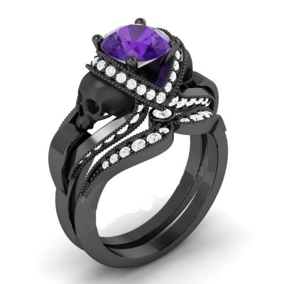 Purple & Black Skull Ring