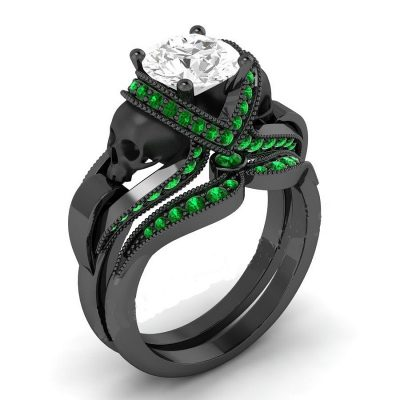 White & Green Diamond Skull Ring
