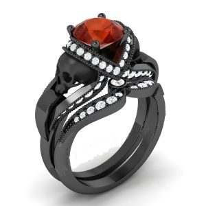 Red Diamond Black Skull Ring