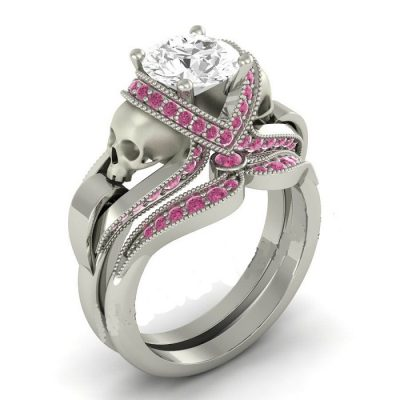 Pink & White Diamond Skull Ring