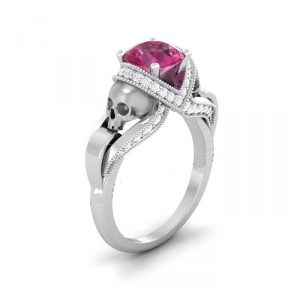 Pink Rounded Diamond Silver Skull Ring