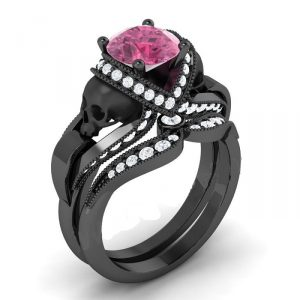 Pink & White Diamond Black Skull Ring (Copy)