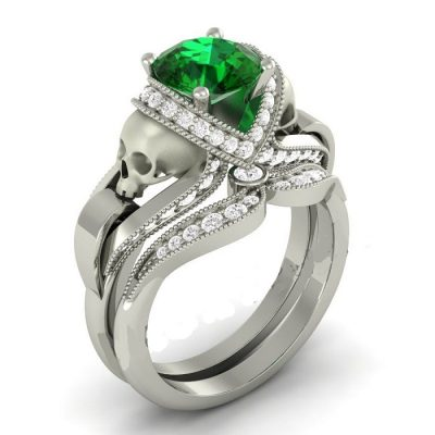 Green diamond silver skull ring