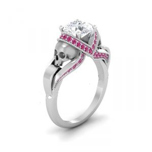 White & Pink Diamond Silver Skull Ring