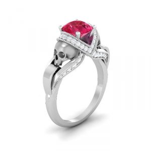 Red & White Diamond Silver Skull Ring