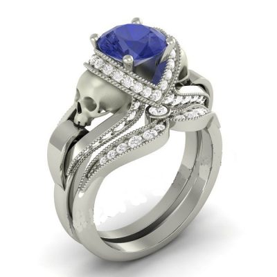Blue & White diamond silver skull ring