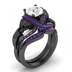 Purple & White Diamond Black Skull Ring