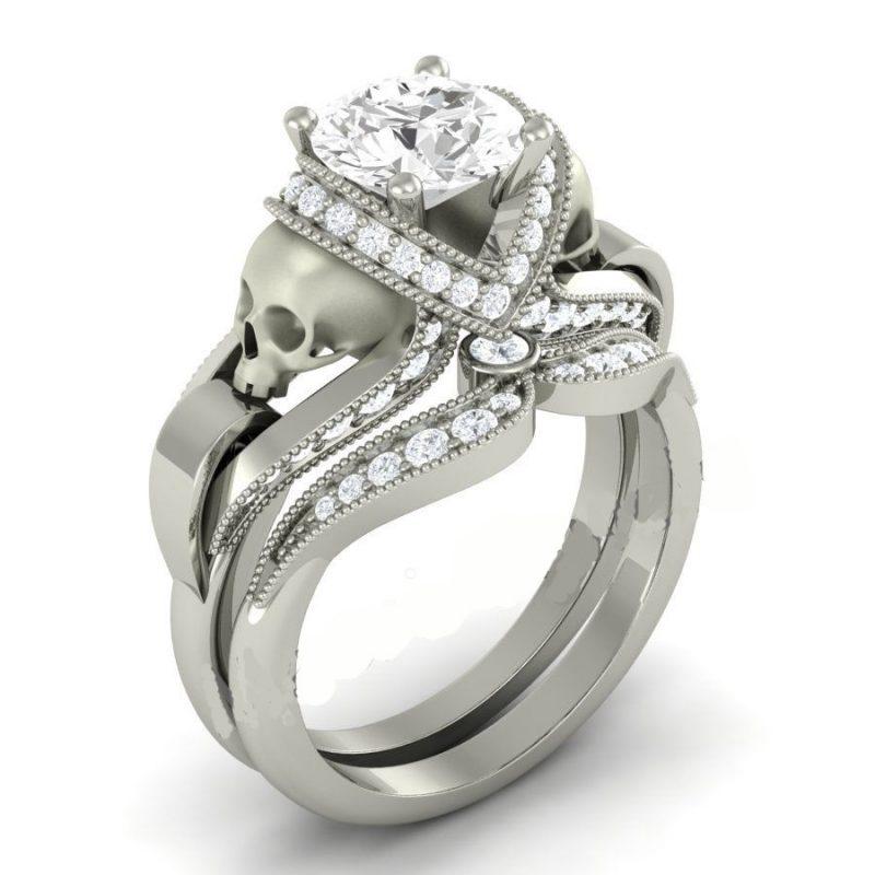 Round Cut Created White Sapphire Skull Ring