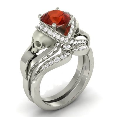 Red Diamond Skull Ring