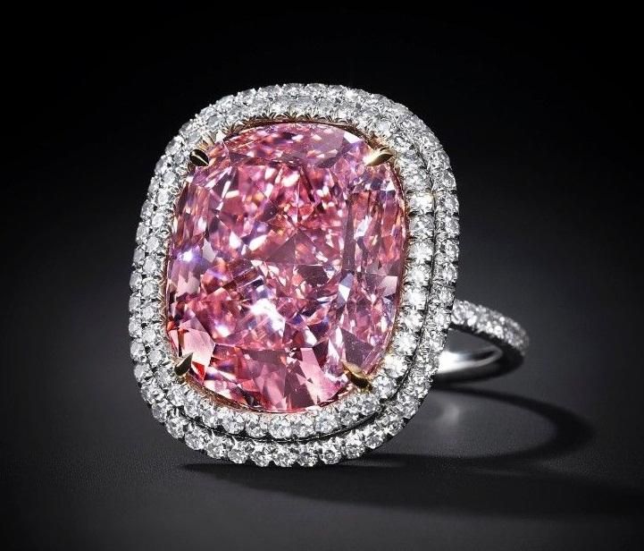 Pink Cushion Cut Big Cz Cocktail Ring