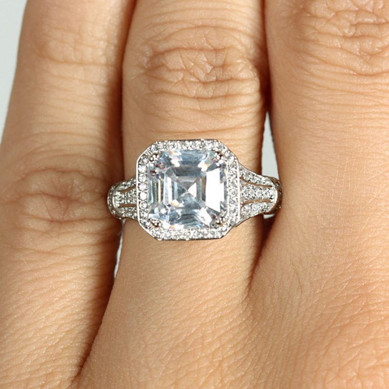 Asscher Cut Stunning Halo Diamond Engagement Ring