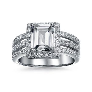 Emerald Cut Diamond Halo Wedding Engagement Ring 925 Sterling Silver