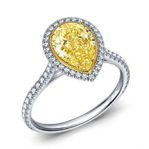 Pear Cut Fancy Yellow Halo Diamond Wedding Engagement Ring