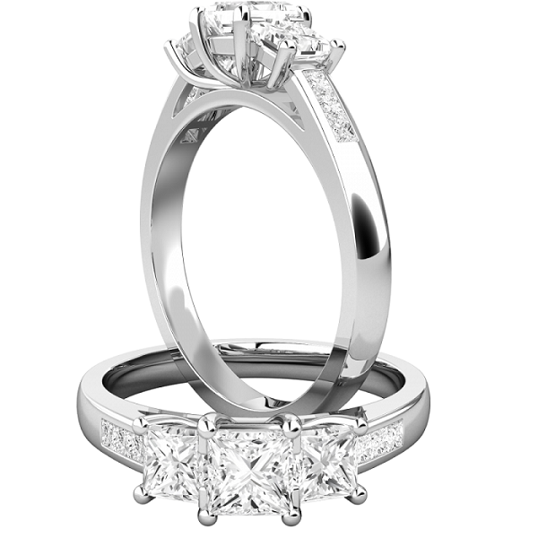 3-Stone Princess Cut Wedding Engagement Ring 925 Sterling Silver