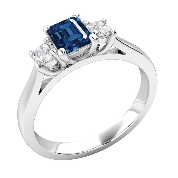 Blue Emerald Cut 3-Stone Engagement Ring