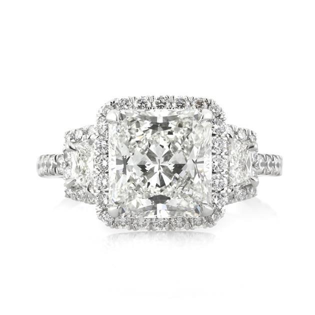 Princess Cut Diamond 3Stone Engagement Ring 3.50 ctw