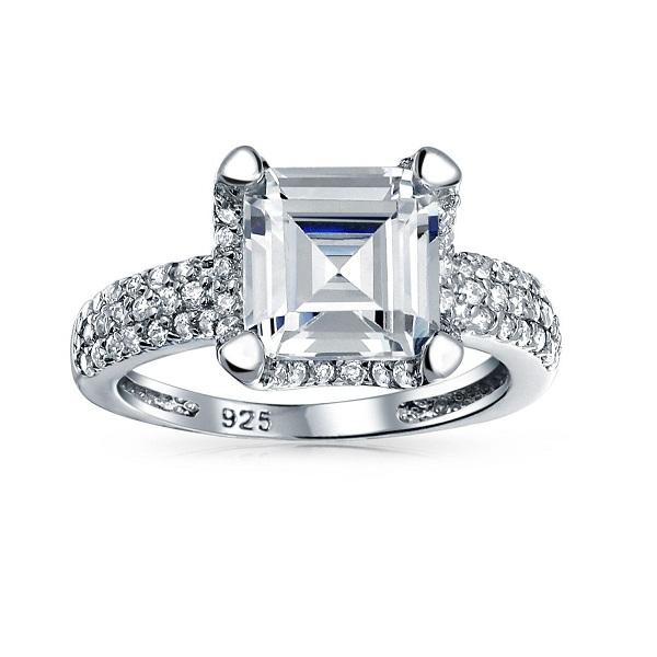 Sterling Silver Asscher Cut Diamond Solitaire Engagement Ring