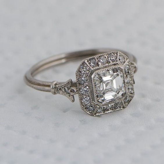 Bezel Asscher Cut Diamond Vintage Style Engagement Ring 925 Sterling Silver Diamond Loops