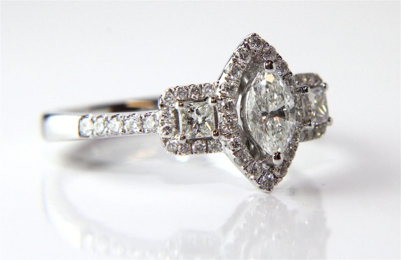 2.00 CT Center Marquise & Side Princess Diamond 3-Stone Halo Engagement Ring 925 Sterling Silver