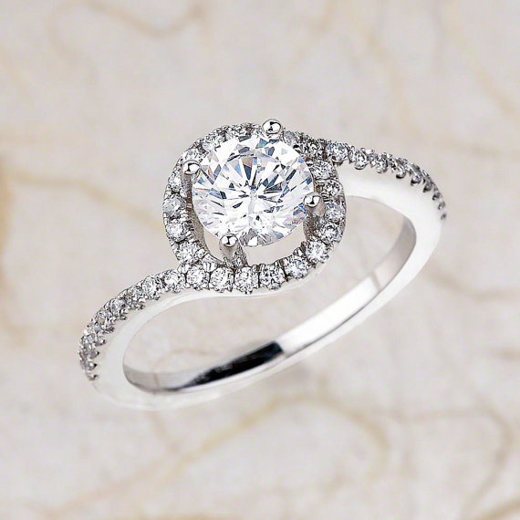 Simple Round Cut Diamond Beautiful Engagement Promise Ring 925 Sterling Silver Diamond Loops