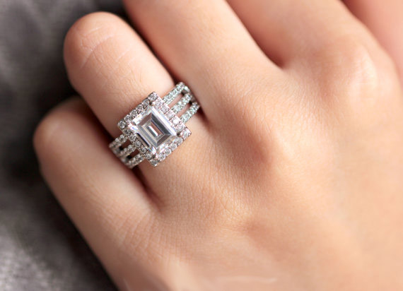 Gorgeous 2.40CT Emerald Cut Halo Diamond Engagement & Bridal Wedding Ring 925 Sterling Silver 2CT