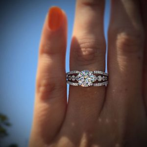 1.50Ct Solitaire Moissanite With Side Stone Engagement Wedding Ring 925 Sterling Silver
