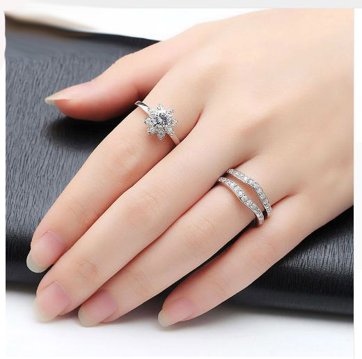 Natural Flower Round Diamond Engagement Anniversary Ring Set 925 sterling Silver