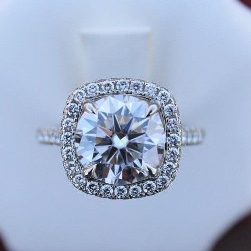 1.55Ct Cushion Shape Round Moissanite Engagement Wedding Ring 925 Sterling Silver