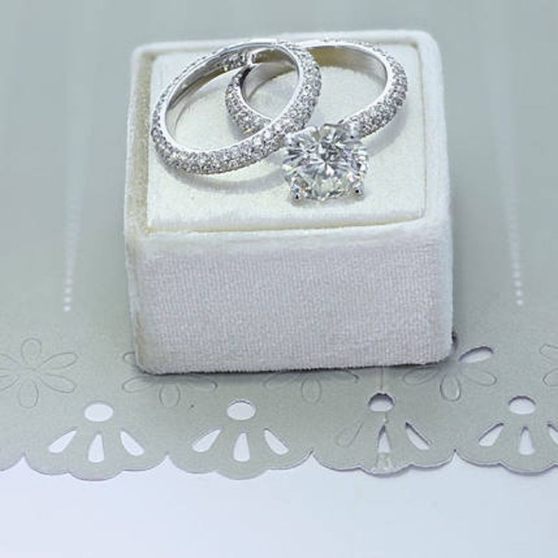 1.65Ct Near White Moissanite Micro Pave Solitaire Wedding Ring & Bridal Band Set 925 Silver