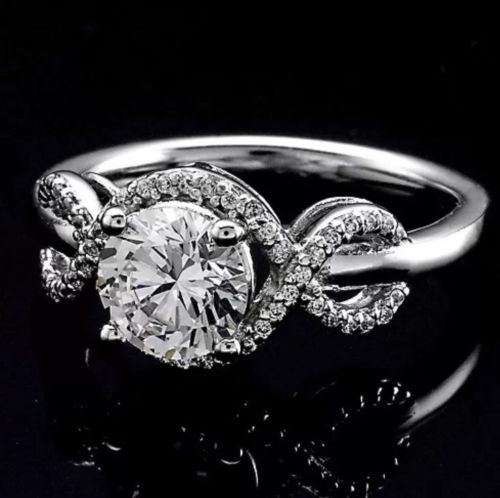 1.25Ct Round Cut Natural Moissanite Infinity Halo Engagement Ring 925 Sterling Silver