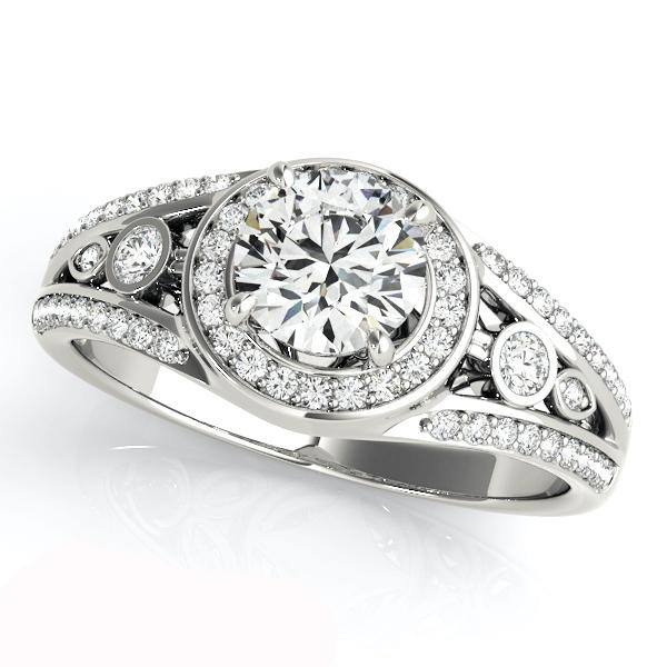 Excellent Round Cut Moissanite 1.25Ct Side Stone Halo Engagement Wedding Ring 925 Sterling Silver