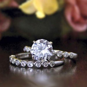 Forever Off White Moissanite 1.30Ct Solitaire Engagement Wedding Ring Set 925 Sterling Silver