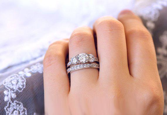 3 Stone Near White Moissanite Bridal Wedding Ring Set 925 Sterling Silver 1 65ct Diamond Loops