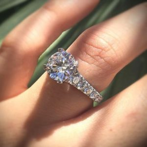 Forever 1.60Ct Moissanite With Side Stone Solitaire Engagement Ring 14K White Gold