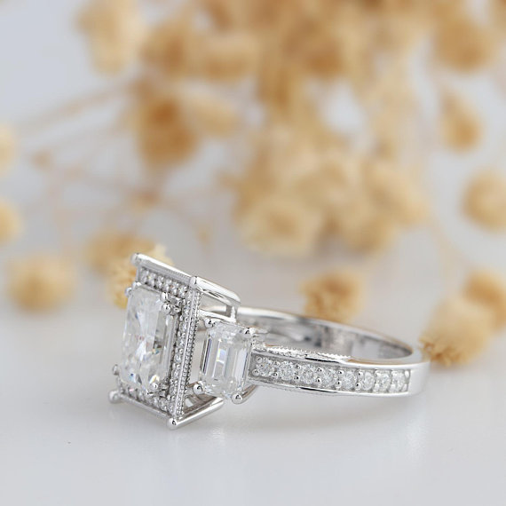 3 Stone Radiant Cut Diamond Engagement Ring 925 Sterling Silver