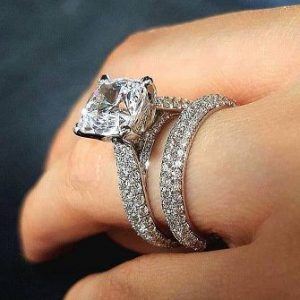 Simple Princess Cut Pave Diamond Bridal Wedding Band Ring Set 925 Sterling Silver