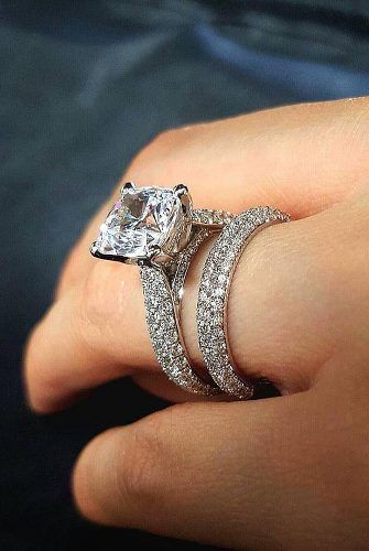 Simple Princess Cut Pave Diamond Bridal Wedding Band Ring Set 925 Sterling Silver Diamond Loops