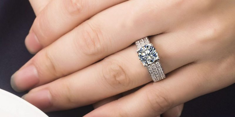 Solitaire Round Cut Pave Diamond Engagement Wedding Ring 925 Sterling Silver