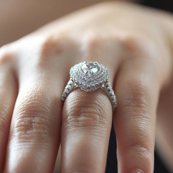 Pear Cut Double Halo Diamond Engagement Gift Ring 925 Sterling Silver