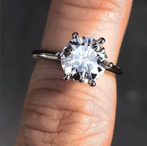 Certified 2Ct Round Cut Solitaire Moissanite Engagement Wedding Ring 14K White Gold