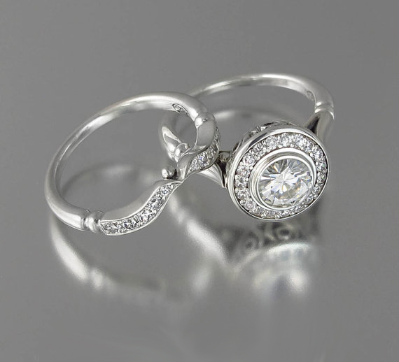 Bezel Style 1.55Ct Round White Moissanite Engagement Wedding Ring Set Solid 14k White Gold