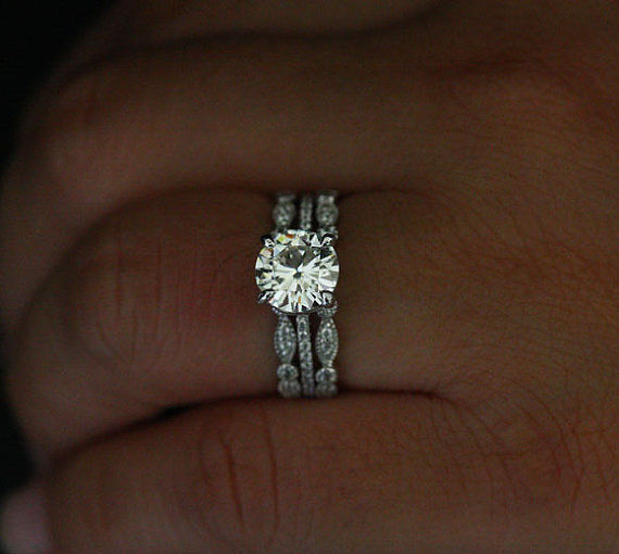1.90Ct Brilliant Moissanite Luxury Bridal Wedding 3 Pieces Ring Solid 925 Sterling Silver
