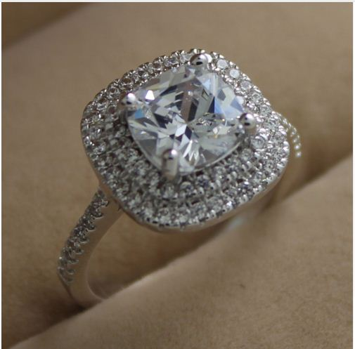 Unique 1.75Ct Cushion Cut Diamond Double Halo Wedding Ring 925 Sterling Silver