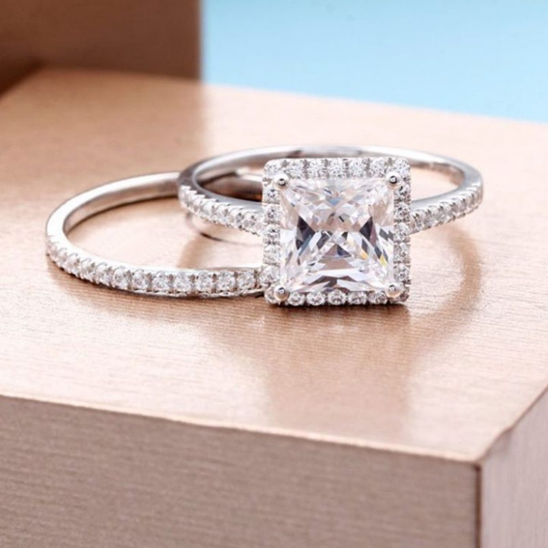 Forever 1.88Ct Princess Cut Diamond Wedding Engagement Ring Set 925 Sterling Silver