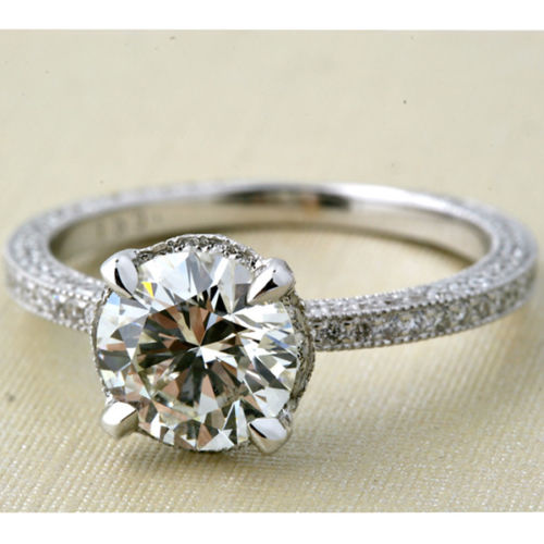 1.50Ct Round Cut Moissanite Micro Pave Engagement Wedding Ring 925 Sterling Silver