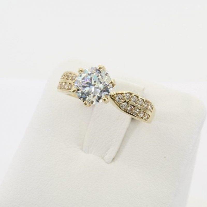 2.Ct Brilliant Round Moissanite Diamond Wedding Engagement Ring Solid 14k Yellow Gold