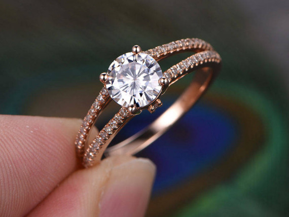 1.54Ct Round Cut Moissanite Diamond Split Shank Engagement Ring Solid 14k Rose Gold