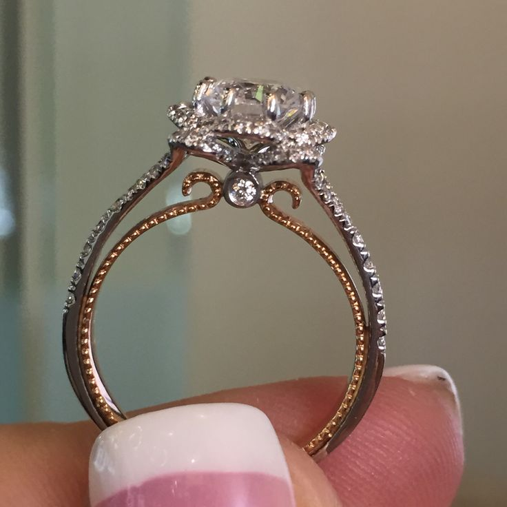 Antique 1 50ct Round Cut White Moissanite Diamond Engagement Ring Solid 14k Rose Gold Diamond Loops