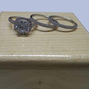 2.18Ct Center Round Moissanite Halo Diamond Luxury Engagement Ring Sets 14k White Gold