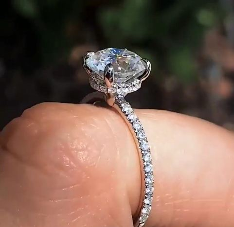 Certified 2.Ct Brilliant Moissanite Solitaire Engagement Wedding Ring In 14k White Gold